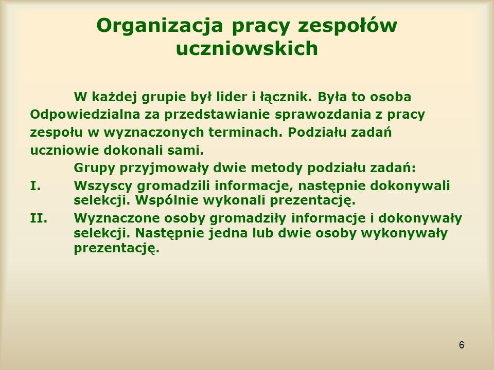 6 Organizacja pracy zespołów uczniowskich W każdej grupie był lider i łącznik. Była to osoba Odpowiedzialna za przedstawianie sprawozdania z pracy zes