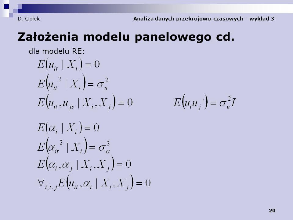 20 D.Ciołek Analiza danych przekrojowo-czasowych – wykład 3 Założenia modelu panelowego cd.