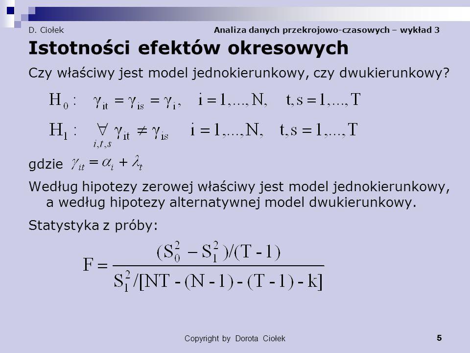 Copyright by Dorota Ciołek 6 D.Ciołek Analiza danych przekrojowo-czasowych – wykład 3 Przykład 1.