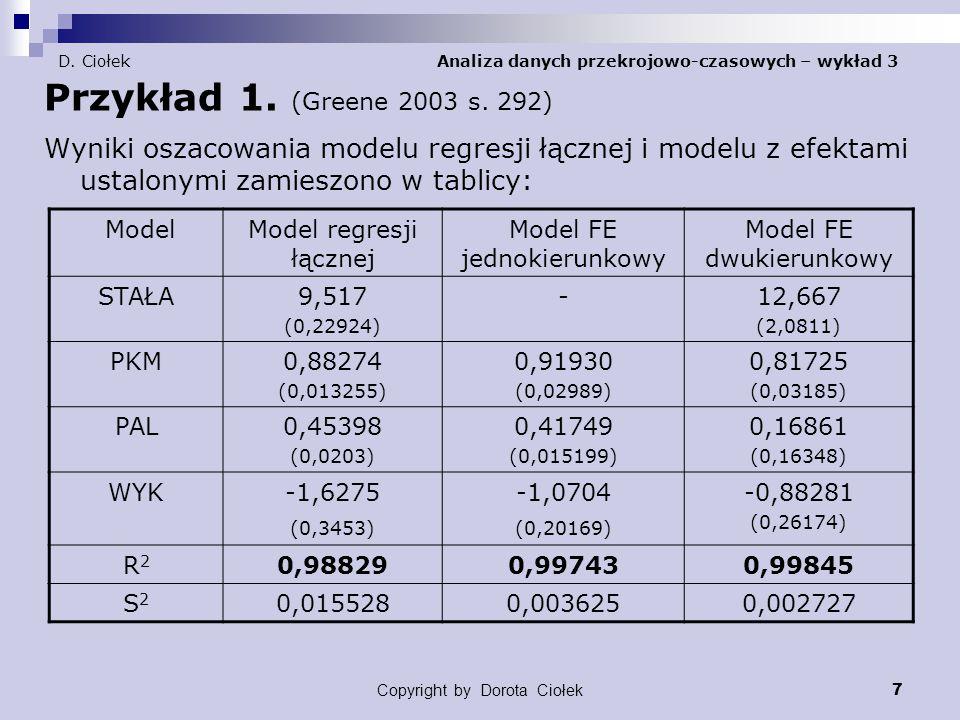 Copyright by Dorota Ciołek 8 D.Ciołek Analiza danych przekrojowo-czasowych – wykład 3 Przykład 1.
