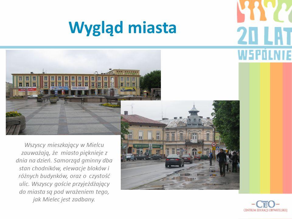 Wygląd miasta Wszyscy mieszkający w Mielcu zauważają, że miasto pięknieje z dnia na dzień. Samorząd gminny dba stan chodników, elewacje bloków i różny