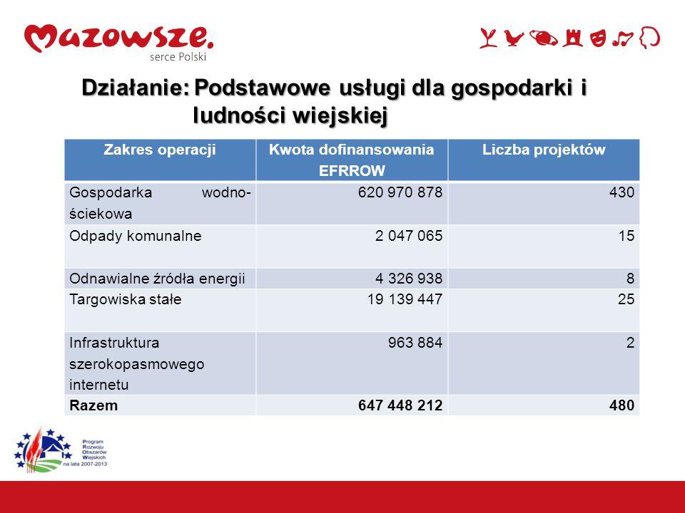 9 Działanie: Podstawowe usługi dla gospodarki i ludności wiejskiej ludności wiejskiej Zakres operacji Kwota dofinansowania EFRROW Liczba projektów Gospodarka wodno- ściekowa 620 970 878430 Odpady komunalne 2 047 06515 Odnawialne źródła energii 4 326 9388 Targowiska stałe 19 139 44725 Infrastruktura szerokopasmowego internetu 963 8842 Razem647 448 212480