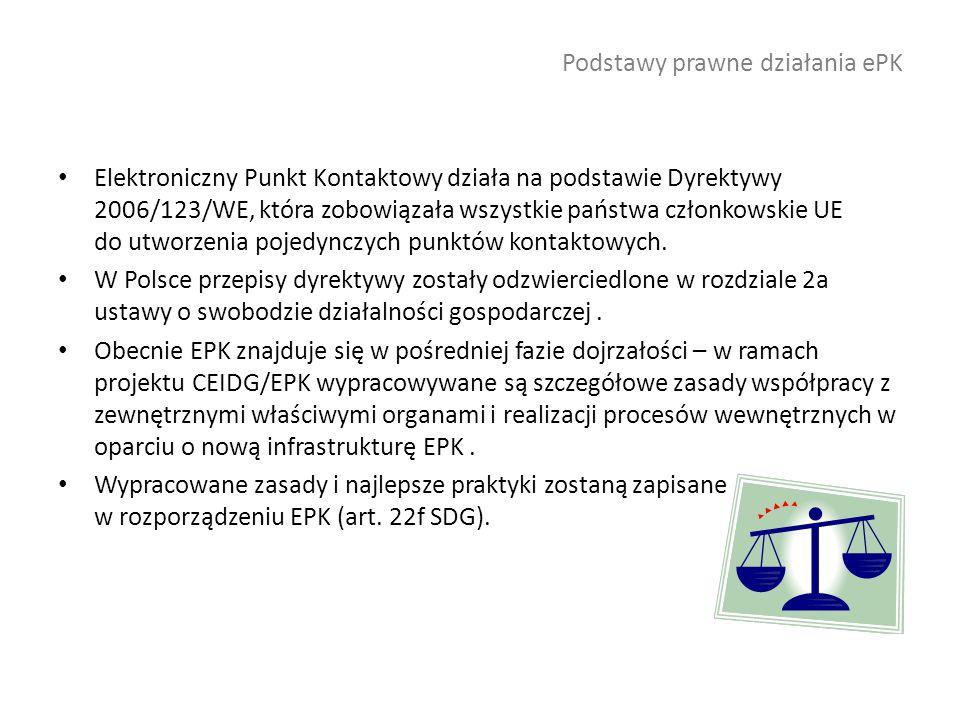 Podstawy prawne działania ePK Elektroniczny Punkt Kontaktowy działa na podstawie Dyrektywy 2006/123/WE, która zobowiązała wszystkie państwa członkowskie UE do utworzenia pojedynczych punktów kontaktowych.