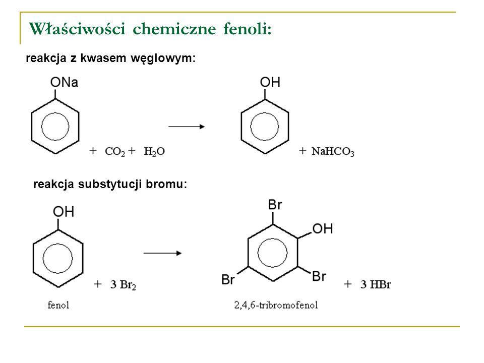 Właściwości chemiczne fenoli: reakcja z kwasem węglowym: reakcja substytucji bromu: