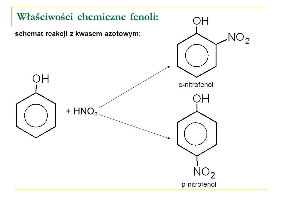 Właściwości chemiczne fenoli: schemat reakcji z kwasem azotowym: o-nitrofenol p-nitrofenol + HNO 3