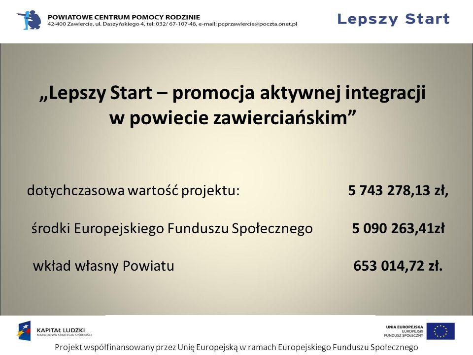 """Projekt współfinansowany przez Unię Europejską w ramach Europejskiego Funduszu Społecznego """"Lepszy Start – promocja aktywnej integracji w powiecie zawierciańskim dotychczasowa wartość projektu: 5 743 278,13 zł, środki Europejskiego Funduszu Społecznego 5 090 263,41zł wkład własny Powiatu 653 014,72 zł."""