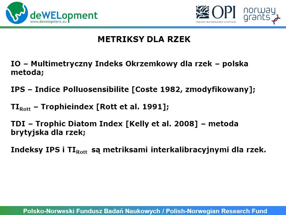 Polsko-Norweski Fundusz Badań Naukowych / Polish-Norwegian Research Fund METRIKSY DLA RZEK IO – Multimetryczny Indeks Okrzemkowy dla rzek – polska metoda; IPS – Indice Polluosensibilite [Coste 1982, zmodyfikowany]; TI Rott – Trophieindex [Rott et al.
