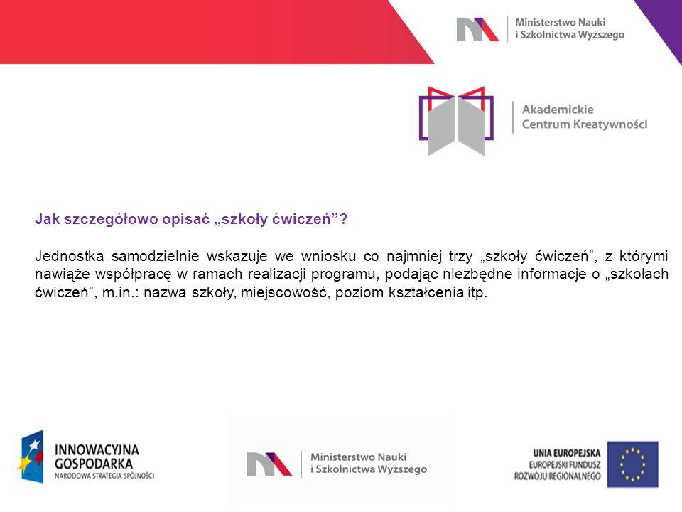 """www.nauka.gov.pl Jak szczegółowo opisać """"szkoły ćwiczeń ."""