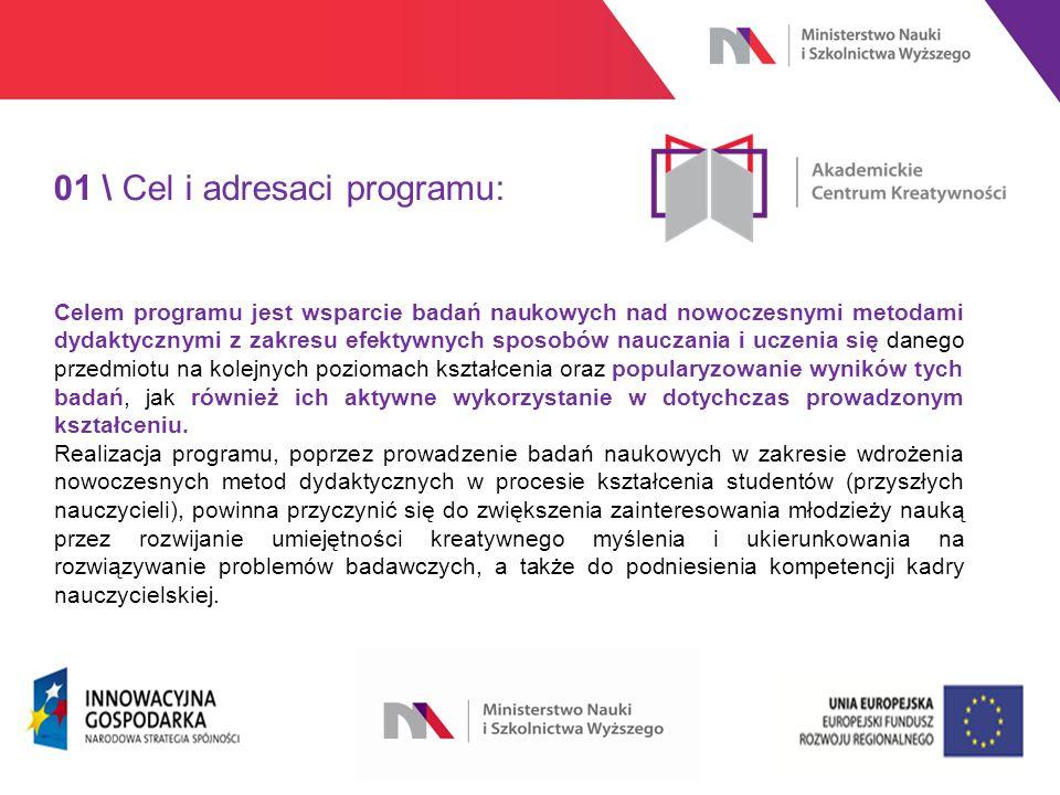 www.nauka.gov.pl 01 \ Cel i adresaci programu: Celem programu jest wsparcie badań naukowych nad nowoczesnymi metodami dydaktycznymi z zakresu efektywnych sposobów nauczania i uczenia się danego przedmiotu na kolejnych poziomach kształcenia oraz popularyzowanie wyników tych badań, jak również ich aktywne wykorzystanie w dotychczas prowadzonym kształceniu.