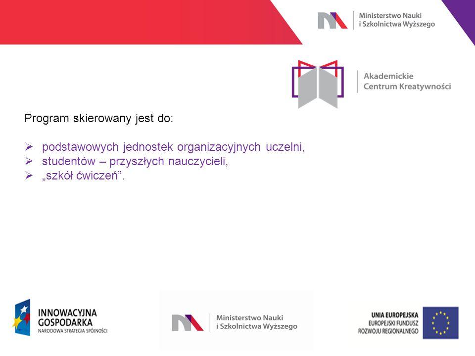 """www.nauka.gov.pl Program skierowany jest do:  podstawowych jednostek organizacyjnych uczelni,  studentów – przyszłych nauczycieli,  """"szkół ćwiczeń ."""