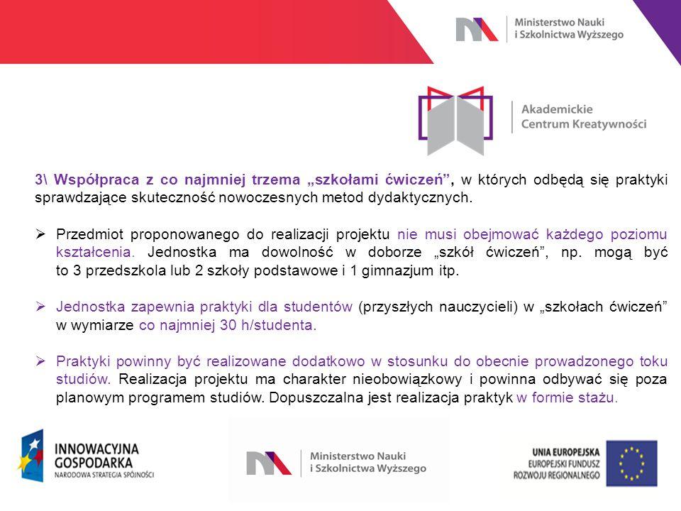 """www.nauka.gov.pl 3\ Współpraca z co najmniej trzema """"szkołami ćwiczeń , w których odbędą się praktyki sprawdzające skuteczność nowoczesnych metod dydaktycznych."""