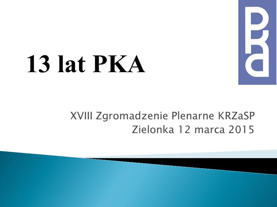 XVIII Zgromadzenie Plenarne KRZaSP Zielonka 12 marca 2015 13 lat PKA