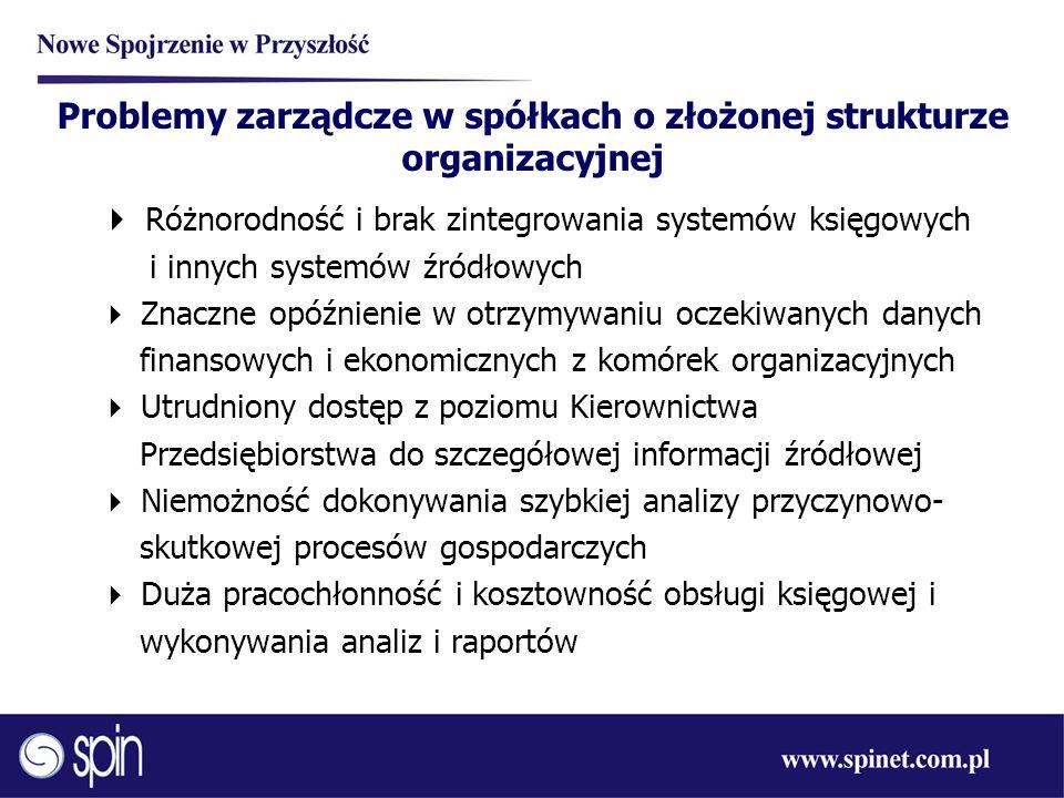 Problemy zarządcze w spółkach o złożonej strukturze organizacyjnej  Różnorodność i brak zintegrowania systemów księgowych i innych systemów źródłowyc