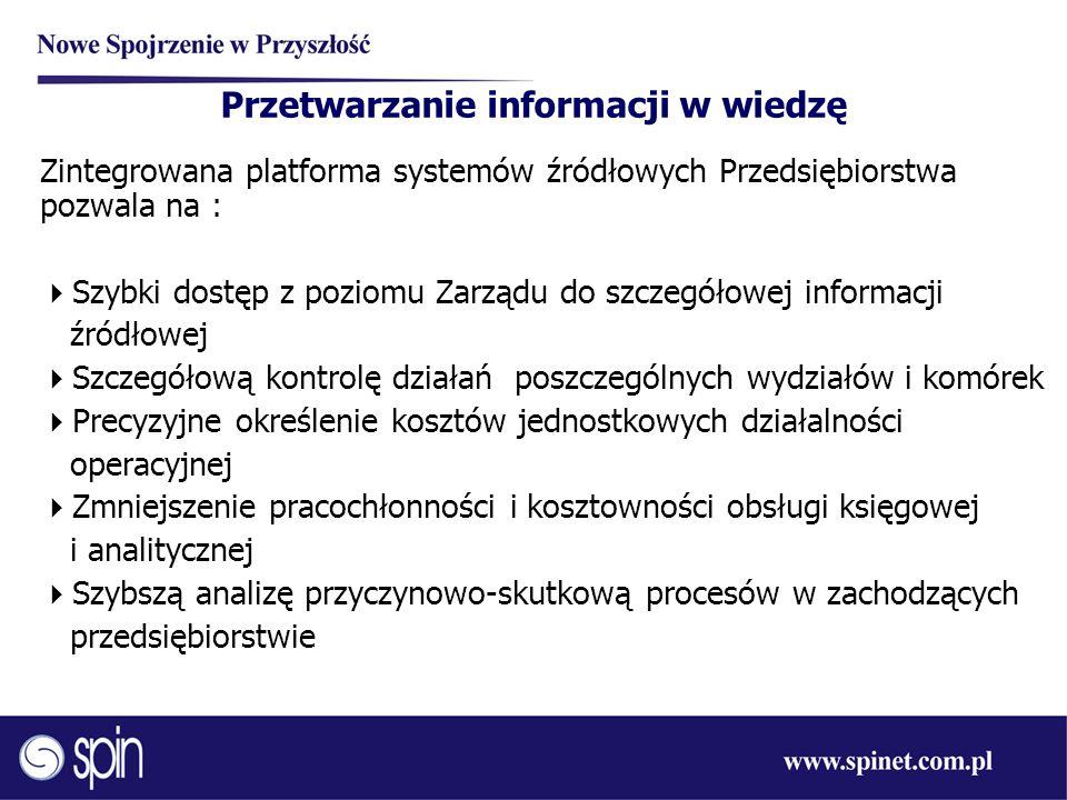 Przetwarzanie informacji w wiedzę Zintegrowana platforma systemów źródłowych Przedsiębiorstwa pozwala na :  Szybki dostęp z poziomu Zarządu do szczeg