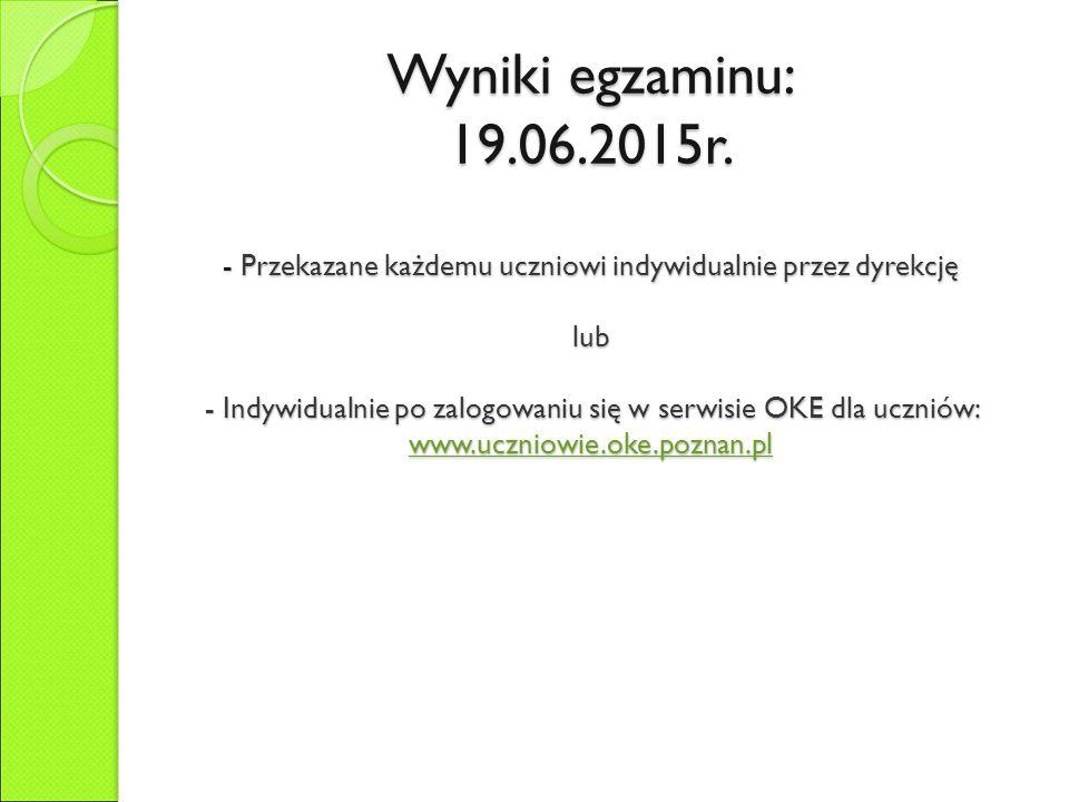 Wyniki egzaminu: 19.06.2015r.