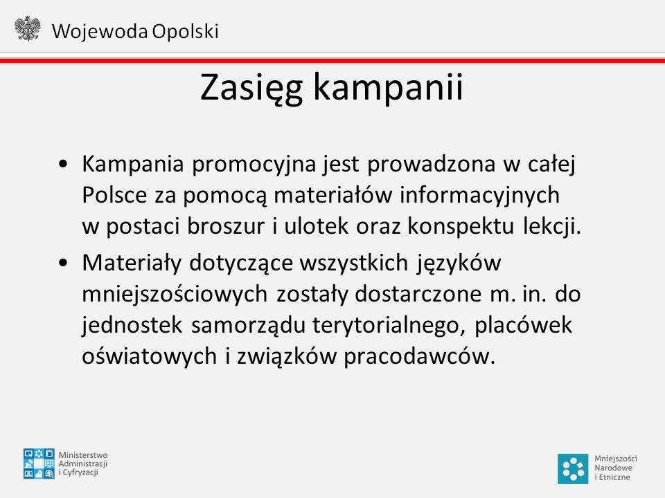 Zasięg kampanii Kampania promocyjna jest prowadzona w całej Polsce za pomocą materiałów informacyjnych w postaci broszur i ulotek oraz konspektu lekcj