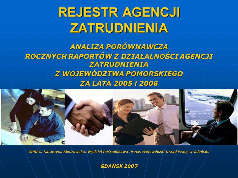 REJESTR AGENCJI ZATRUDNIENIA ANALIZA PORÓWNAWCZA ROCZNYCH RAPORTÓW Z DZIAŁALNOŚCI AGENCJI ZATRUDNIENIA Z WOJEWÓDZTWA POMORSKIEGO ZA LATA 2005 i 2006 OPRAC.