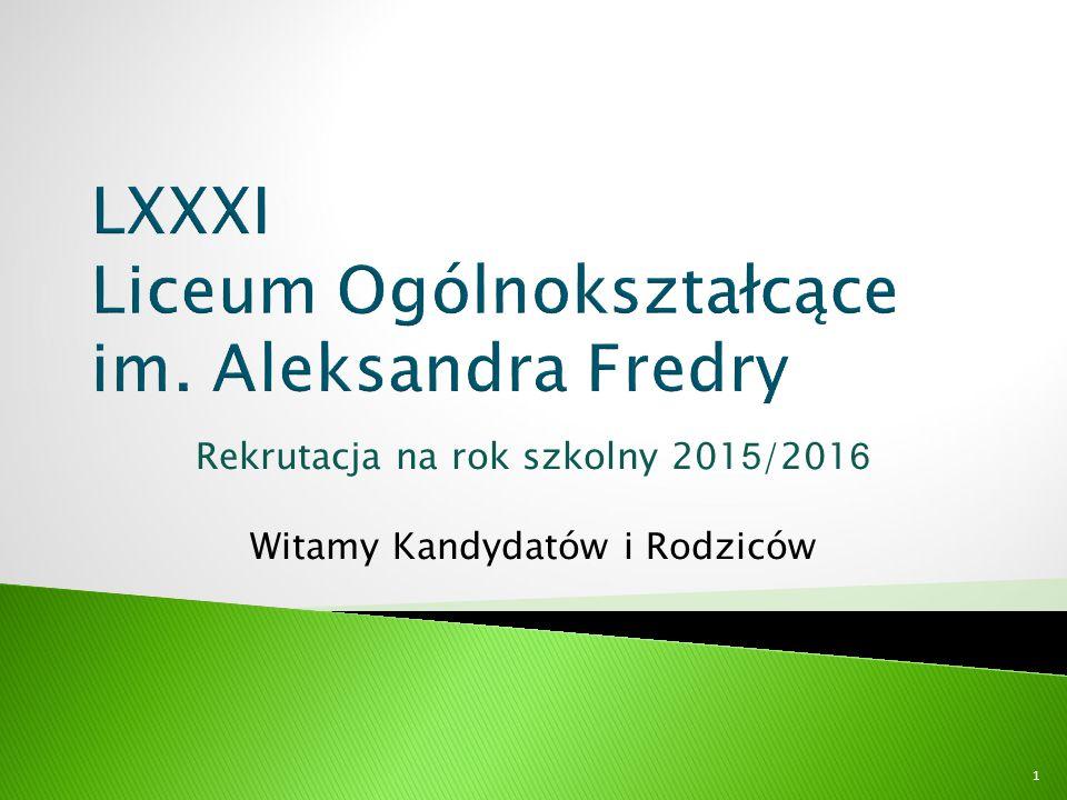  Szkoła istnieje od 23 lat, jest mała, kameralna  Usytuowanie w Śródmieściu Warszawy daje możliwość szybkiego dojazdu  Uczymy skutecznie w przyjaznej atmosferze  Profesjonalna kadra pedagogiczna umożliwia dobre przygotowanie do egzaminu maturalnego  Zapewniamy opiekę psychologiczno-pedagogiczną  Gwarantujemy bezpieczeństwo /obiekt monitorowany/ 12