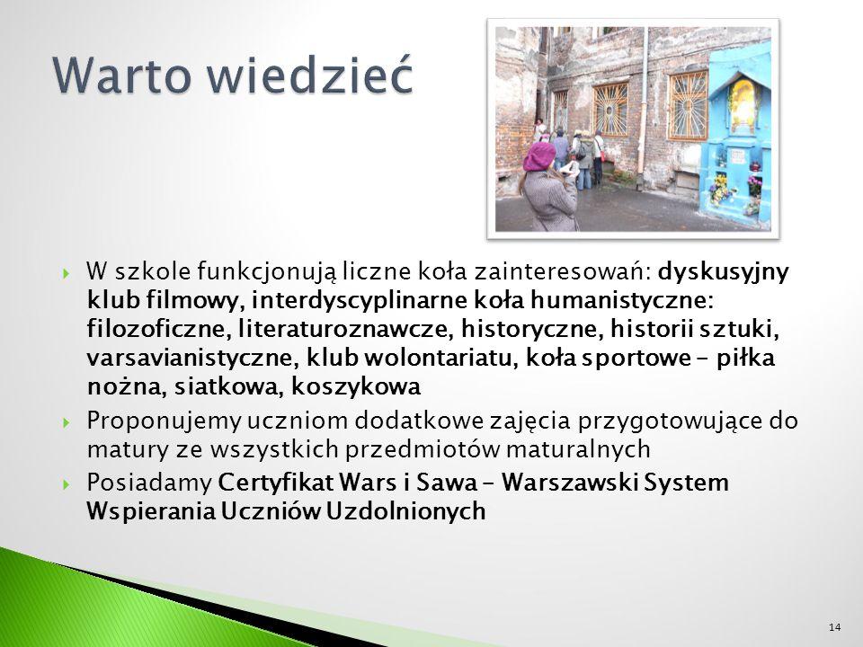  W szkole funkcjonują liczne koła zainteresowań: dyskusyjny klub filmowy, interdyscyplinarne koła humanistyczne: filozoficzne, literaturoznawcze, historyczne, historii sztuki, varsavianistyczne, klub wolontariatu, koła sportowe – piłka nożna, siatkowa, koszykowa  Proponujemy uczniom dodatkowe zajęcia przygotowujące do matury ze wszystkich przedmiotów maturalnych  Posiadamy Certyfikat Wars i Sawa – Warszawski System Wspierania Uczniów Uzdolnionych 14