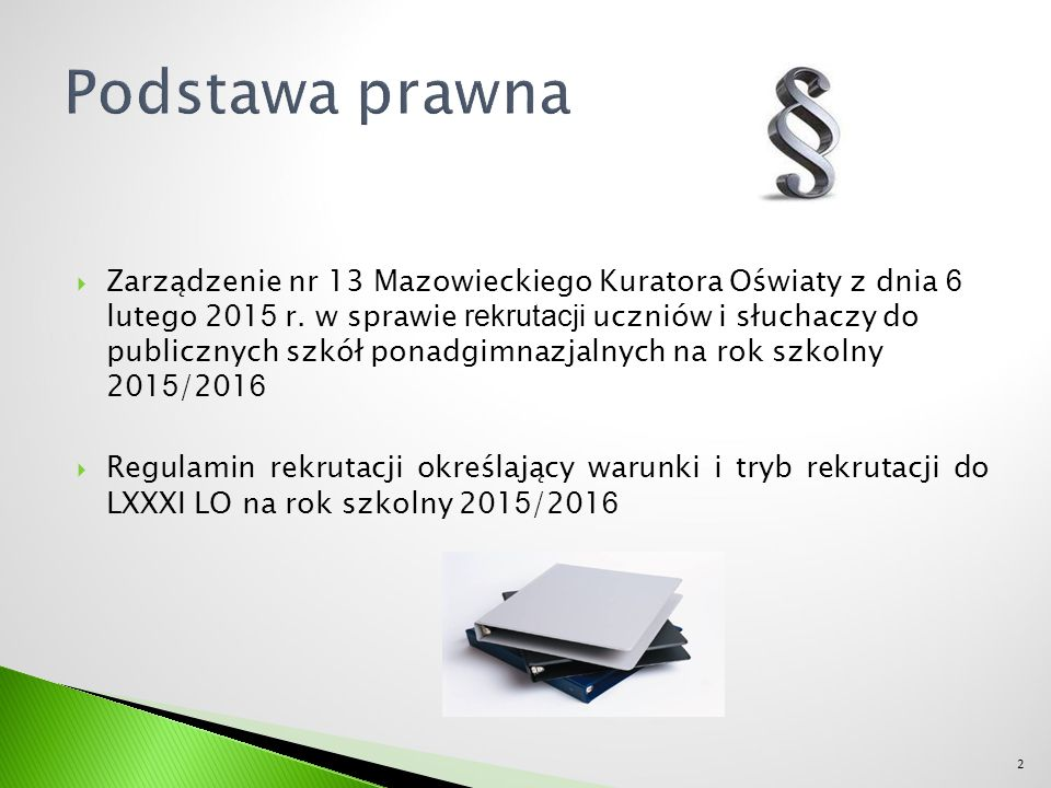  Zarządzenie nr 13 Mazowieckiego Kuratora Oświaty z dnia 6 lutego 201 5 r.