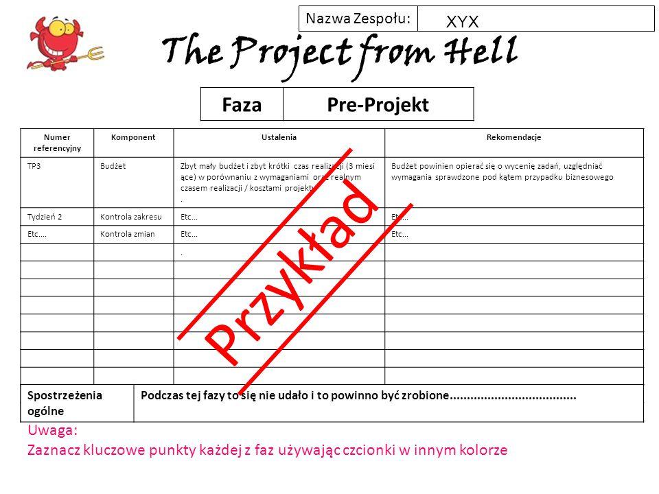 Nazwa Zespołu: The Project from Hell Numer referencyjny KomponentUstaleniaRekomendacje FazaPre-Projekt Spostrzeżenia ogólne XYX