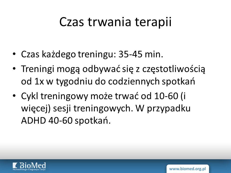 Czas trwania terapii Czas każdego treningu: 35-45 min.