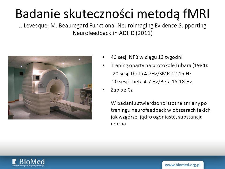 Badanie skuteczności metodą fMRI J. Levesque, M. Beauregard Functional Neuroimaging Evidence Supporting Neurofeedback in ADHD (2011) 40 sesji NFB w ci