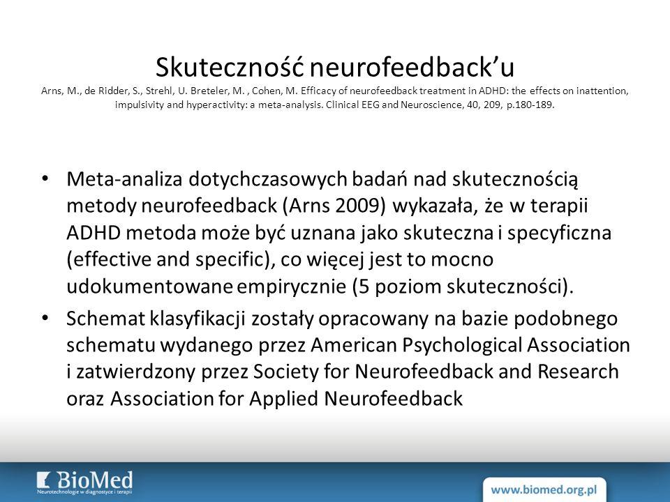 Skuteczność neurofeedback'u Arns, M., de Ridder, S., Strehl, U. Breteler, M., Cohen, M. Efficacy of neurofeedback treatment in ADHD: the effects on in