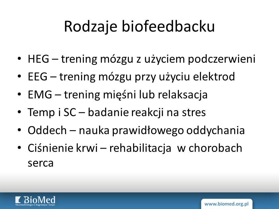 Rodzaje biofeedbacku HEG – trening mózgu z użyciem podczerwieni EEG – trening mózgu przy użyciu elektrod EMG – trening mięśni lub relaksacja Temp i SC
