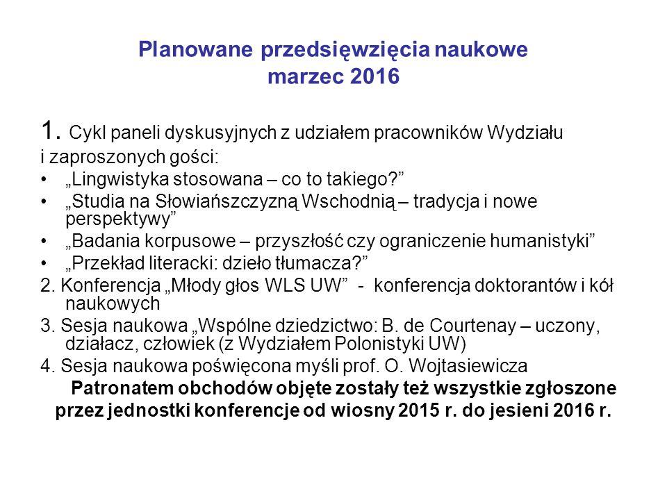 """Planowane przedsięwzięcia naukowe marzec 2016 1. Cykl paneli dyskusyjnych z udziałem pracowników Wydziału i zaproszonych gości: """"Lingwistyka stosowana"""