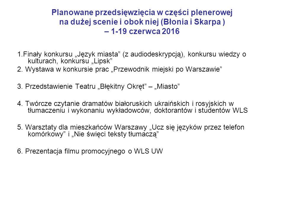 """Planowane przedsięwzięcia w części plenerowej na dużej scenie i obok niej (Błonia i Skarpa ) – 1-19 czerwca 2016 1.Finały konkursu """"Język miasta"""" (z a"""