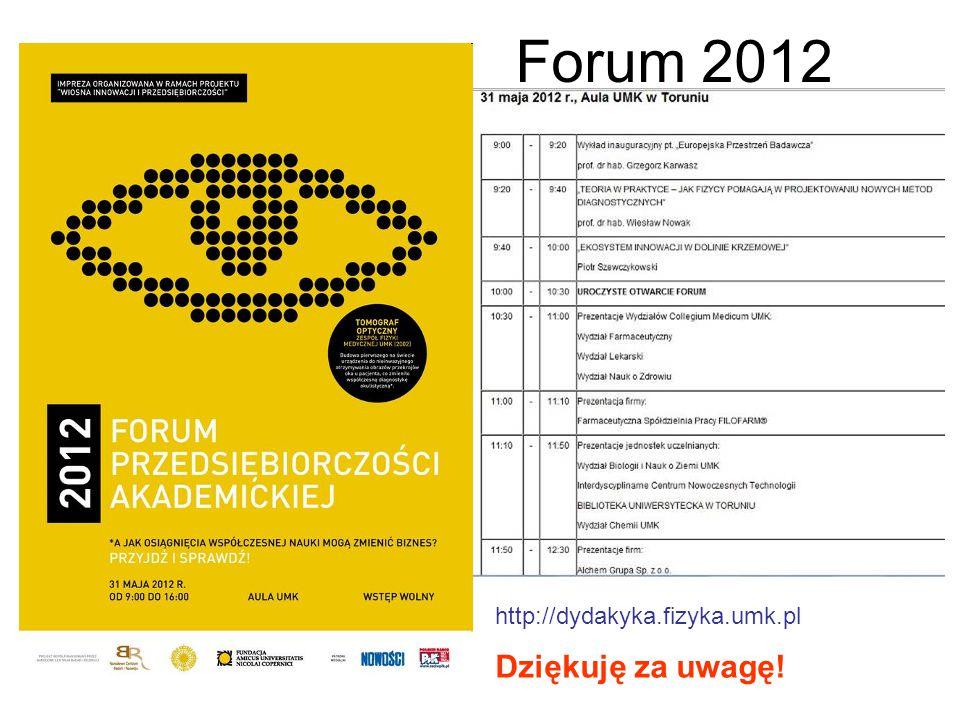 Forum 2012 Dziękuję za uwagę! http://dydakyka.fizyka.umk.pl