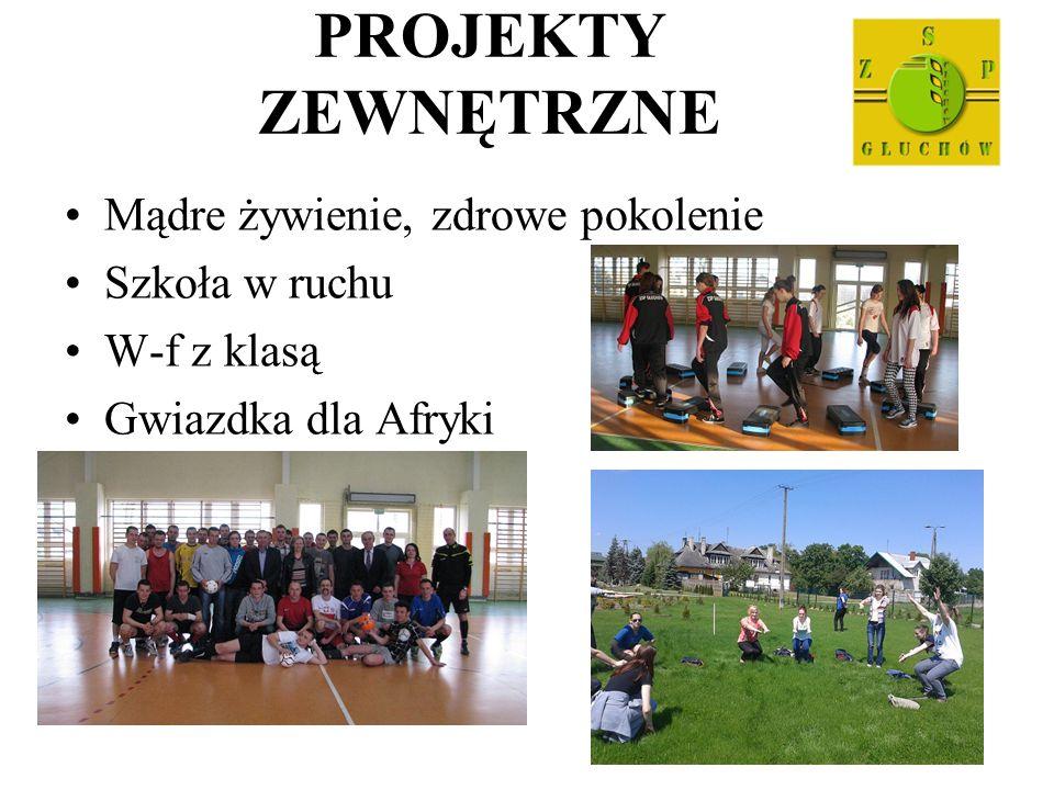 PROJEKTY ZEWNĘTRZNE Mądre żywienie, zdrowe pokolenie Szkoła w ruchu W-f z klasą Gwiazdka dla Afryki