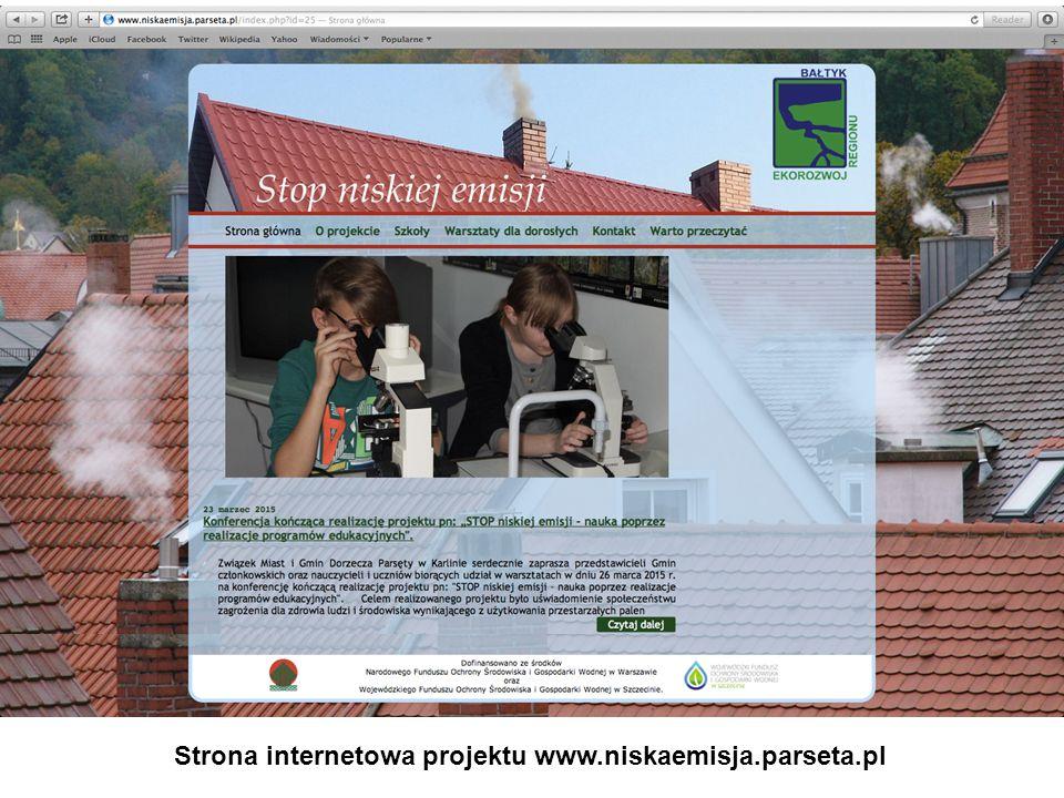 Strona internetowa projektu www.niskaemisja.parseta.pl