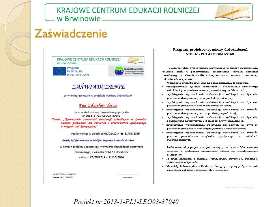 Zaświadczenie Projekt nr 2013-1-PL1-LEO03-37040