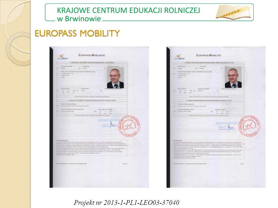 EUROPASS MOBILITY Projekt nr 2013-1-PL1-LEO03-37040