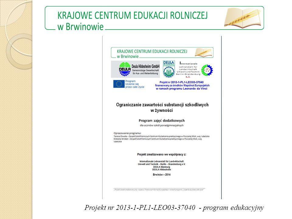 Projekt nr 2013-1-PL1-LEO03-37040 - program edukacyjny