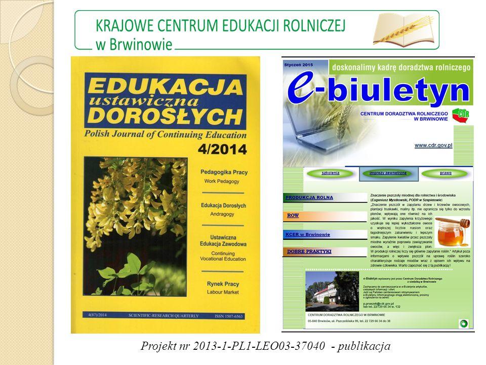 Projekt nr 2013-1-PL1-LEO03-37040 - publikacja