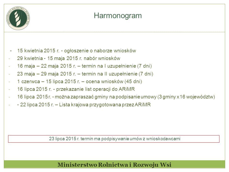 Harmonogram Ministerstwo Rolnictwa i Rozwoju Wsi - 15 kwietnia 2015 r.