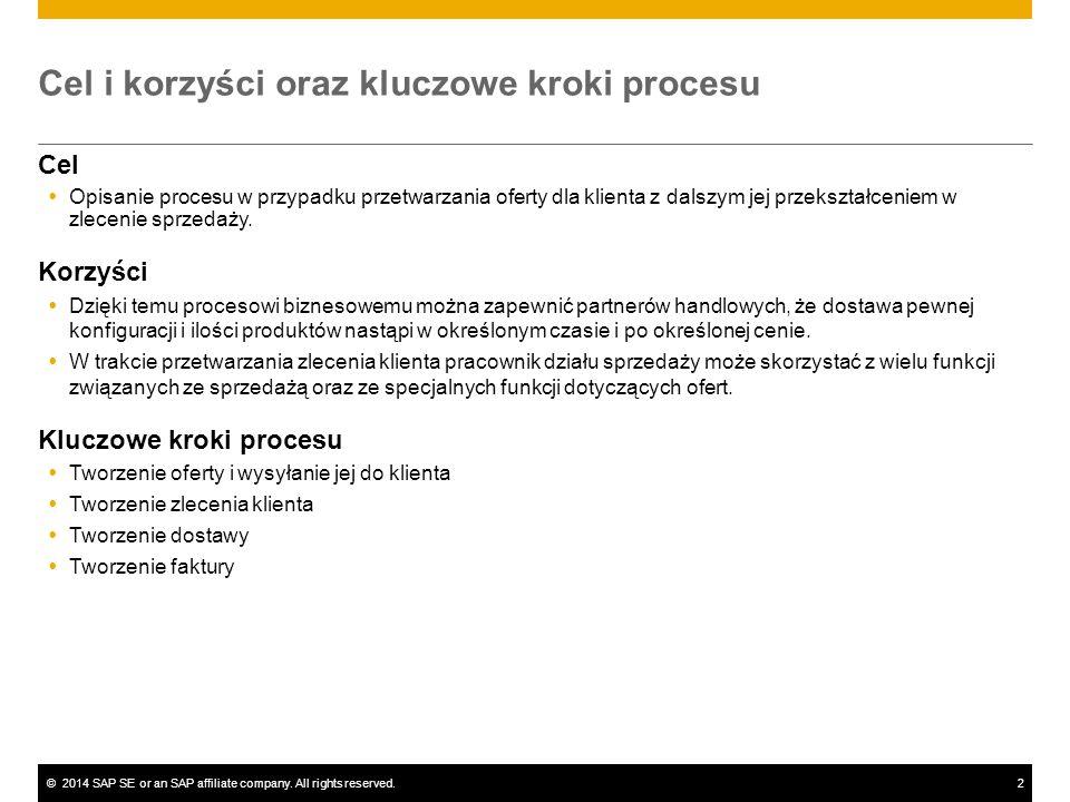 ©2014 SAP SE or an SAP affiliate company. All rights reserved.2 Cel i korzyści oraz kluczowe kroki procesu Cel  Opisanie procesu w przypadku przetwar