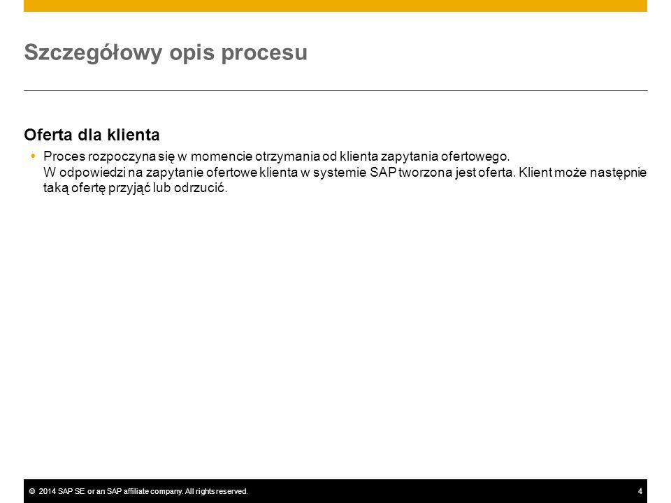 ©2014 SAP SE or an SAP affiliate company. All rights reserved.4 Szczegółowy opis procesu Oferta dla klienta  Proces rozpoczyna się w momencie otrzyma