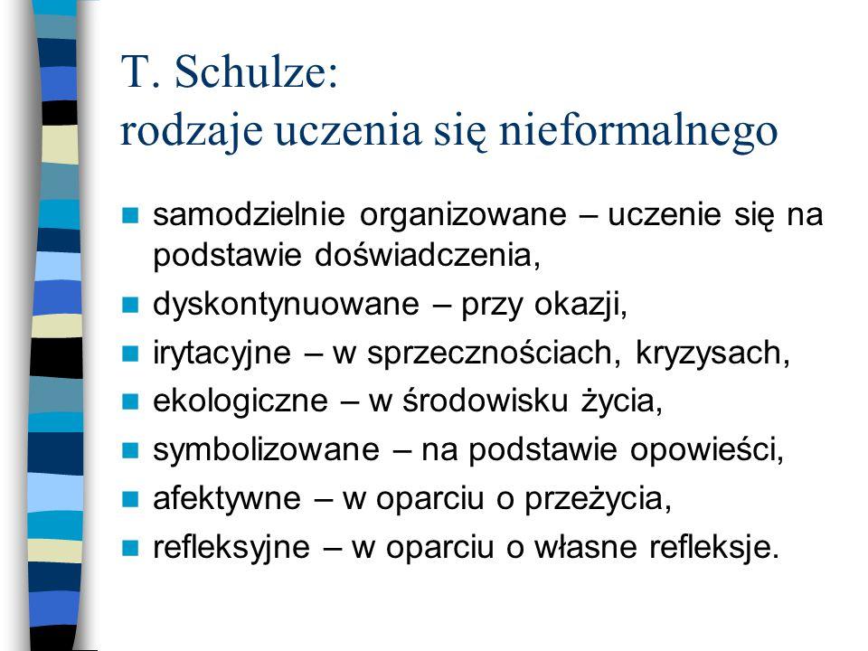 T. Schulze: rodzaje uczenia się nieformalnego samodzielnie organizowane – uczenie się na podstawie doświadczenia, dyskontynuowane – przy okazji, iryta