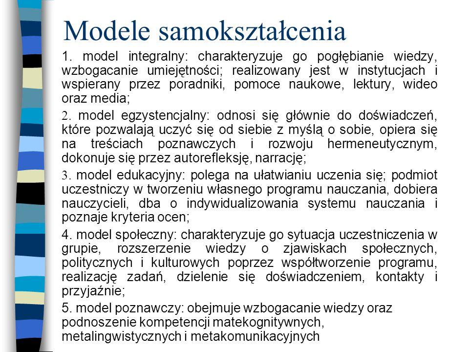 Modele samokształcenia 1. model integralny: charakteryzuje go pogłębianie wiedzy, wzbogacanie umiejętności; realizowany jest w instytucjach i wspieran