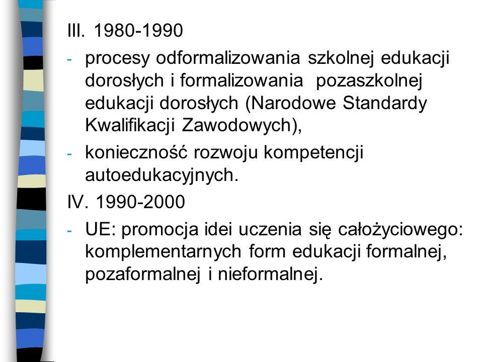 III. 1980-1990 - procesy odformalizowania szkolnej edukacji dorosłych i formalizowania pozaszkolnej edukacji dorosłych (Narodowe Standardy Kwalifikacj