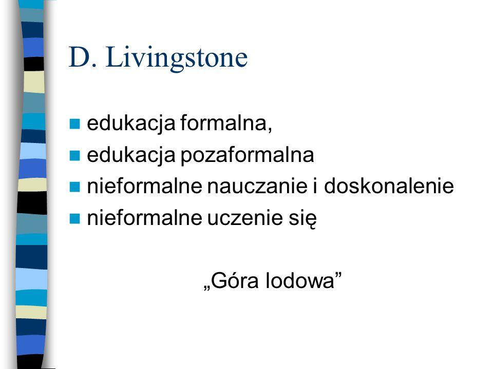 """D. Livingstone edukacja formalna, edukacja pozaformalna nieformalne nauczanie i doskonalenie nieformalne uczenie się """"Góra lodowa"""""""