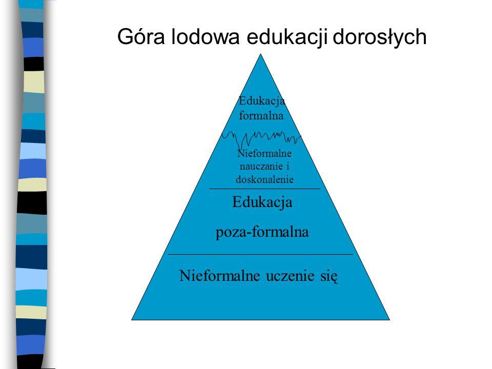 Góra lodowa edukacji dorosłych Nieformalne uczenie się Edukacja poza-formalna Nieformalne nauczanie i doskonalenie Edukacja formalna