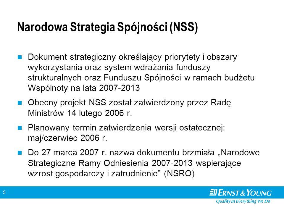 5 Narodowa Strategia Spójności (NSS) Dokument strategiczny określający priorytety i obszary wykorzystania oraz system wdrażania funduszy strukturalnyc
