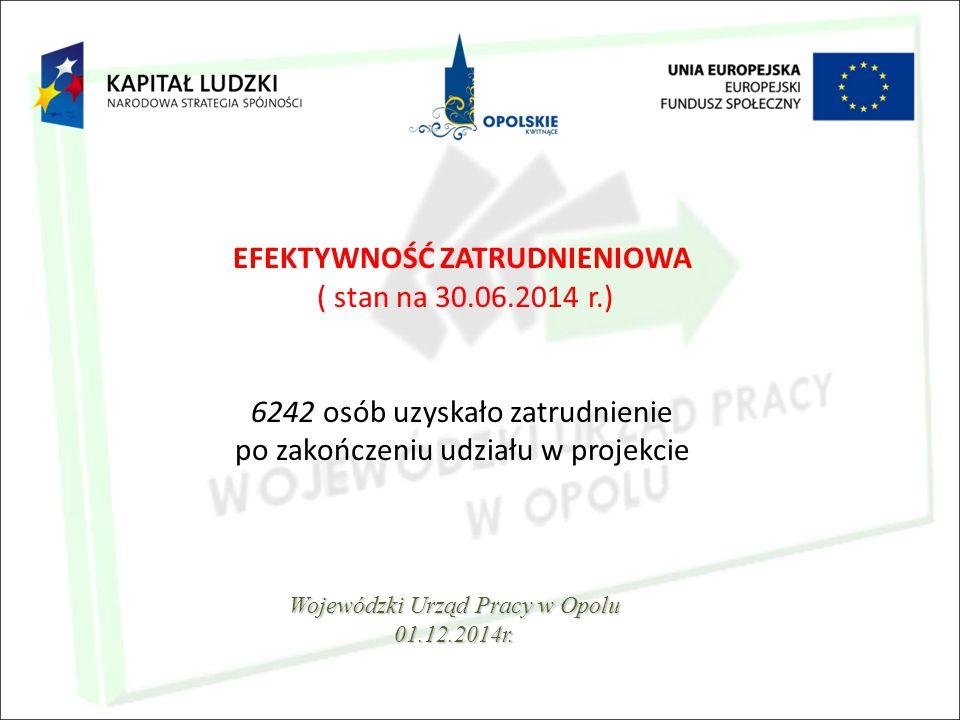 EFEKTYWNOŚĆ ZATRUDNIENIOWA ( stan na 30.06.2014 r.) 6242 osób uzyskało zatrudnienie po zakończeniu udziału w projekcie Wojewódzki Urząd Pracy w Opolu