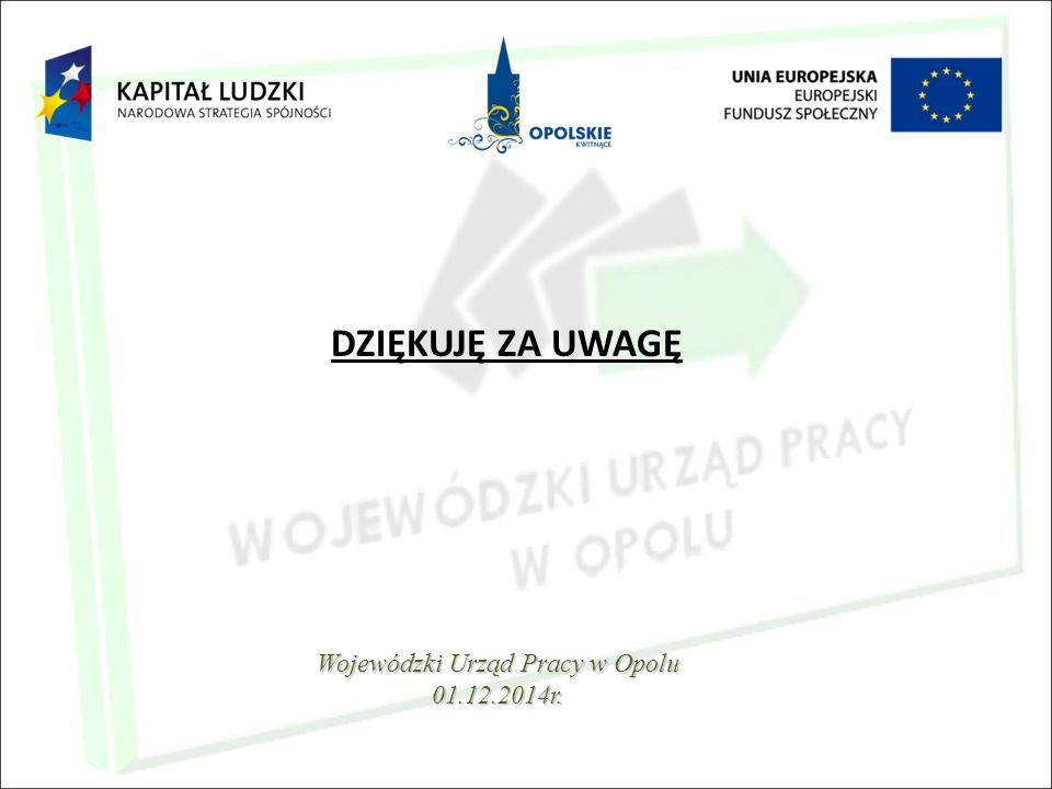 DZIĘKUJĘ ZA UWAGĘ Wojewódzki Urząd Pracy w Opolu 01.12.2014r.