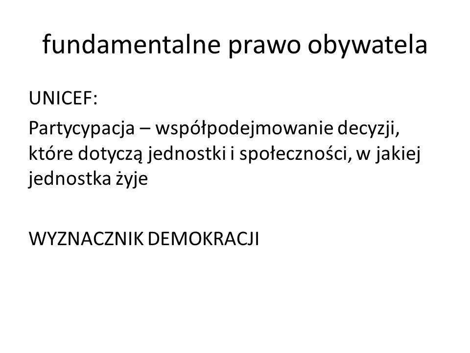 fundamentalne prawo obywatela UNICEF: Partycypacja – współpodejmowanie decyzji, które dotyczą jednostki i społeczności, w jakiej jednostka żyje WYZNACZNIK DEMOKRACJI